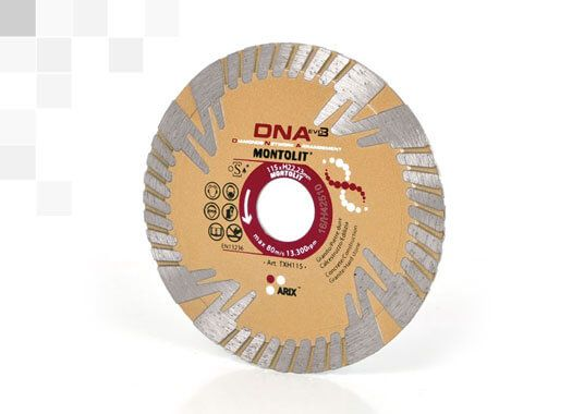 thick diamond blade made for cutting two centimetres hard porcelain tiles