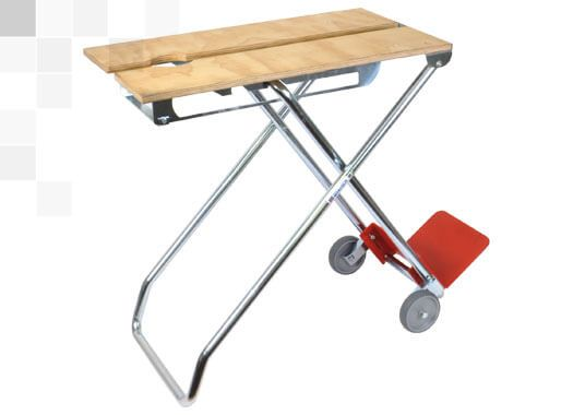 working table with double height foldable into a trolley for transporting items